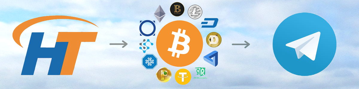 HT logo with cryptocurrencies